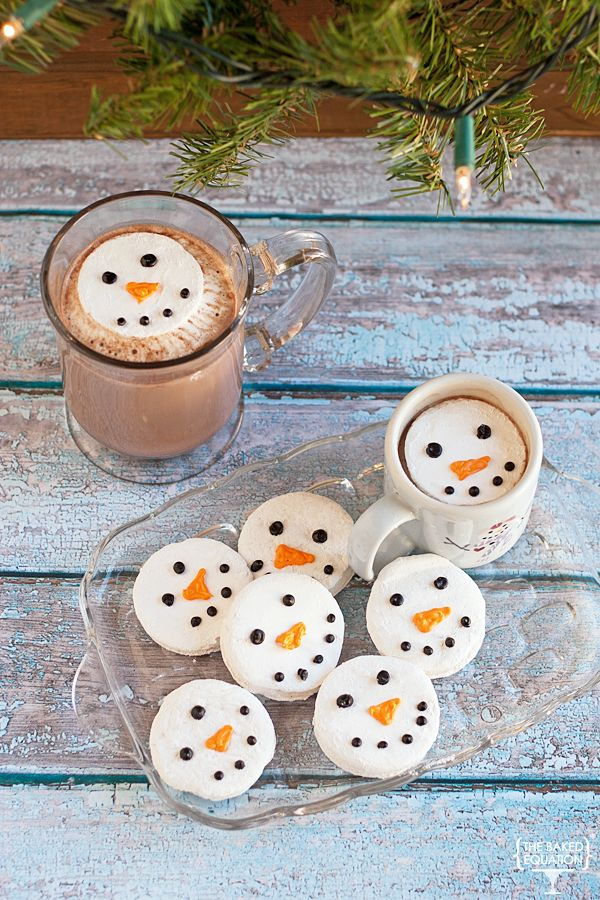 Homemade snowman marshmallows are a fun way to dress up your winter hot chocolate.
