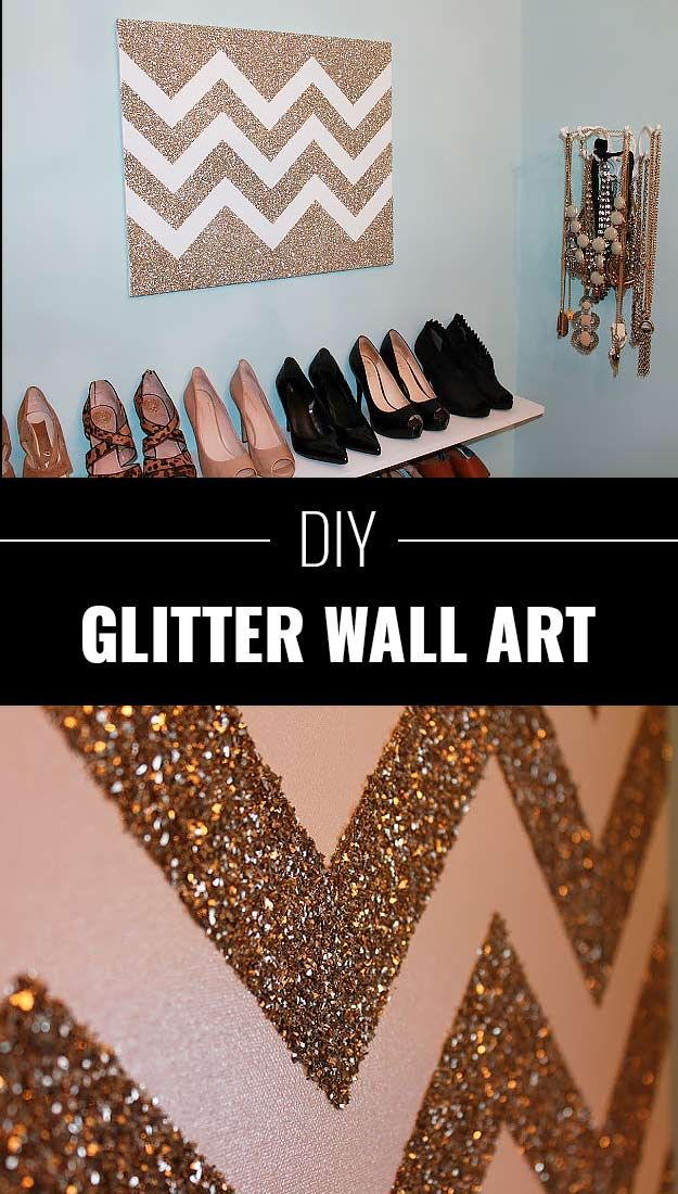Cool DIY Crafts Made With Glitter - Sparkly, Creative Projects and Ideas for the Bedroom, Clothes, Shoes, Gifts, Wedding and Home Decor | DIY Glitter Wall Art | diyprojectsfortee...