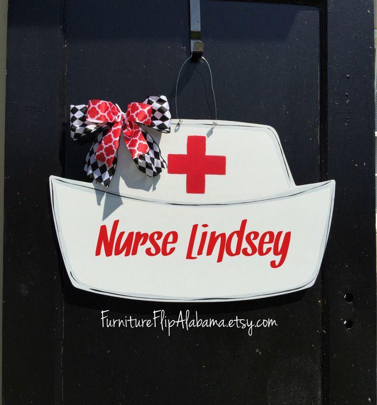 Nurse hat wooden door hanger, Nurse Wreath, nurse sign personalized door hanger, Nurse door hanger, by Furnitureflipalabama on Etsy https://www.etsy.com/listing/295334963/nurse-hat-wooden-door-hanger-nurse