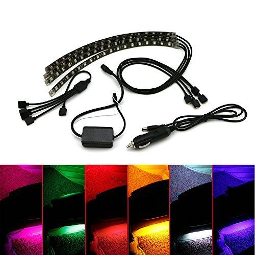 PROAUTO LED Interior Underdash Lighting Kit Car Lights 12 led per pcs 9.1'' with Bluetooth Car Interior LED Light Flexible Accent Light Kit Neon Lights For Car LED Lights for Truck Jeep SUV Motorcycle