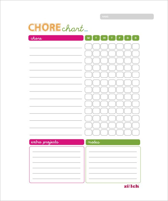 chore list template for kids - weekly chore chart template 11 free word excel pdf