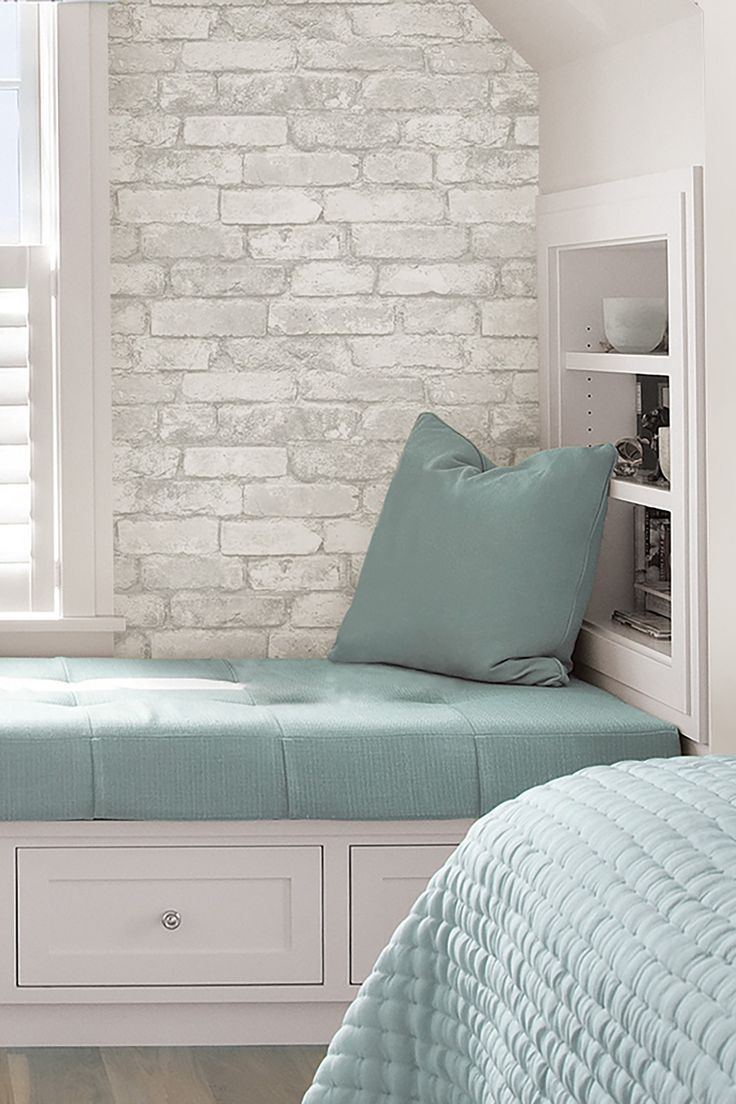 Create An Elegant Statement With A White Brick Wall. White Brick WallpaperGrey  Bedroom ...