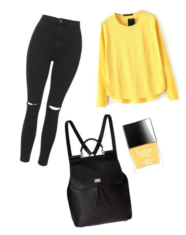 """""""yellow fall"""" by dadacookie on Polyvore featuring Topshop, Dolce&Gabbana and Butter London"""