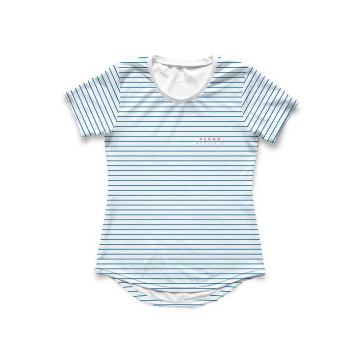 Women's Tech-Tee / Aqua Pin Stripe