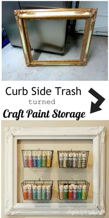 Curb Side Trash Turned DIY Craft Paint Storage