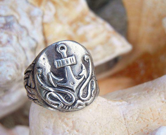 Anchor bijoux anneau d'ancrage Anchor chevalière par HappyGoLicky
