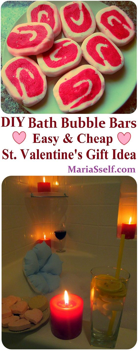 DIY Bubble Bath Bars Recipe, How to Make spa Products CHEAP, EASY & QUICK! More spa DIYs on www.MariaSself.com Homemade Gift Idea for Saint Valentine's Day, Birthday, Mother's Day or Christmas