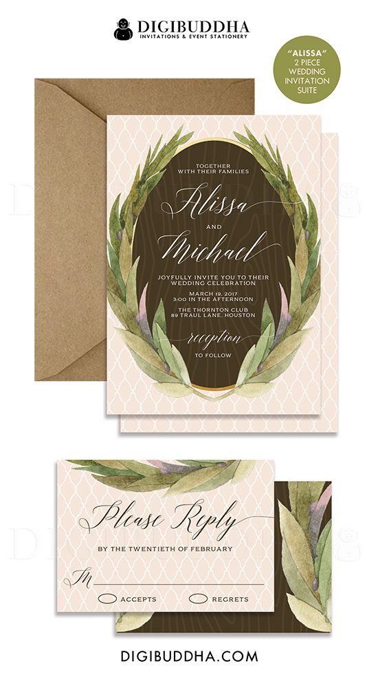Rustic wedding invitation in a soft, pastel peach trellis pattern with beautiful wood grain and green painterly bohemian watercolor laurel wreath sprigs.  Elegant calligraphy completes the wedding invitation & rsvp 2-piece suite.  Kraft envelope and matching envelope liner also available, at digibuddha.com