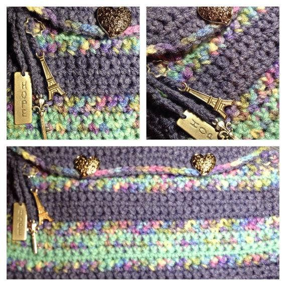 Crochet Denim Blue and Pastel Colored Clutch with Lining