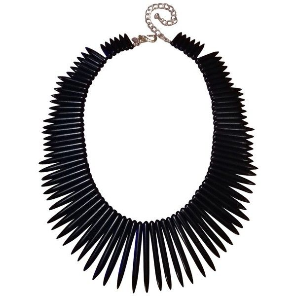Pre-owned Statement necklace ($83) ❤ liked on Polyvore featuring jewelry, necklaces, black, bib statement necklace, kenneth jay lane pendant, lock jewelry, kenneth jay lane jewelry and pendant necklace