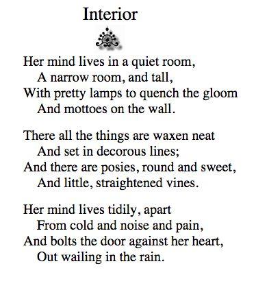 'Interior' - Dorothy Parker.