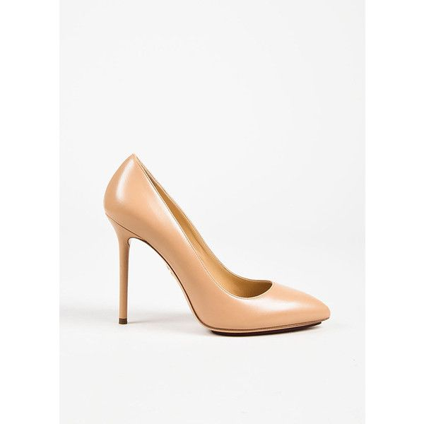 """Charlotte Olympia Nude Leather """"Monroe"""" Pointed Toe Pumps ❤ liked on Polyvore featuring shoes, pumps, nude pumps, nude leather shoes, nude shoes, nude footwear and nude court shoes"""