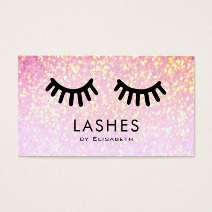 cartoon big lashes on faux sparkle makeup artist business card - cyo diy customize unique design gift idea