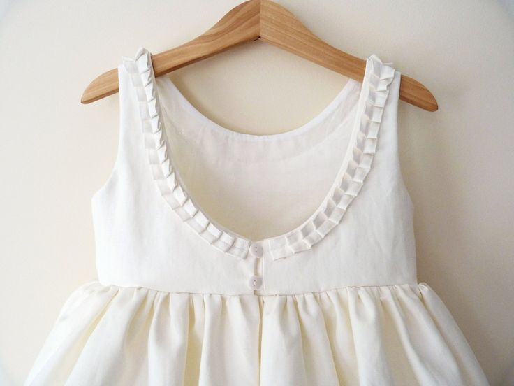 Ivory Flower Girls Dress - Pleat Detail and Low Back. $100.00, via Etsy.