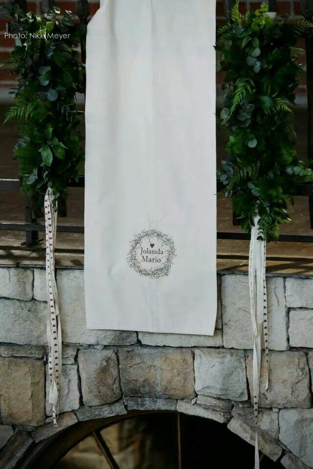Banner met loof en linte