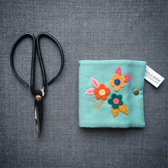 Handmade wool felt flower fabric needle book by TinyHandmadeDolls