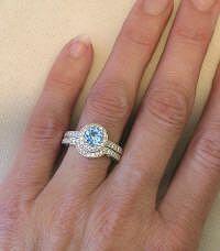 Round Aquamarine Engagement Ring With Contoured Diamond Wedding Band MyJewelrySource