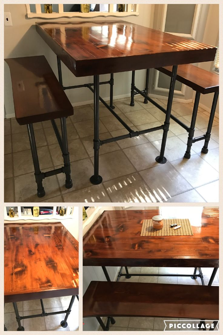 pipe leg kitchen table benches high top cedar wood that we torched to