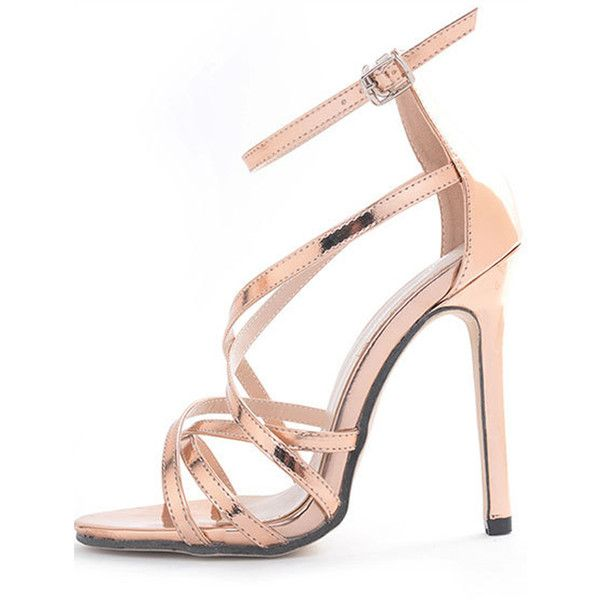 cae70131444 Gold Pu Ankle Strap Metallic Strappy Stiletto High Heels ( 41) ❤ liked on  Polyvore featuring shoes