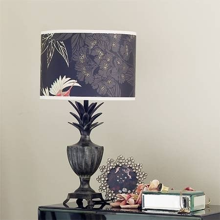 Pineapple table lamp base with Grove Garden drum lampshade in a wallpaper print by Cole & Son.