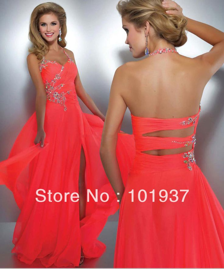 Wholesale Coral Evening Dress Halter Crystal Chiffon Women's Pageant Front Slit Sexy Prom Dress Long 50007A $139.00