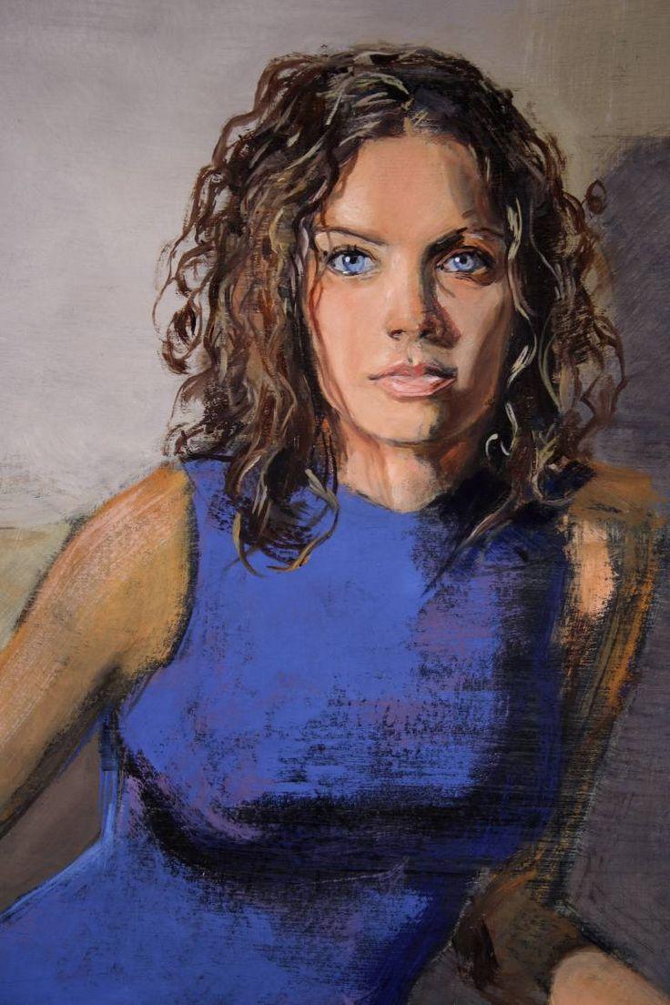 """Saatchi Art Исполнитель Matthew Дэви;  Картина """"Девушка с кобальтом глазами"""" #art  3100 $"""