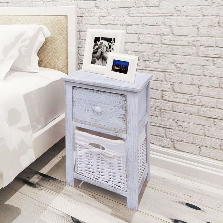 Home Bedside Cabinet Table Bedroom Nightstand Wood Furniture 2 Pcs Retro White #HomeBedsideCabinet