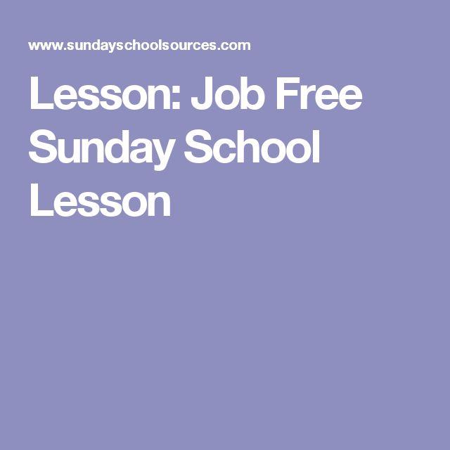 Lesson: Job Free Sunday School Lesson