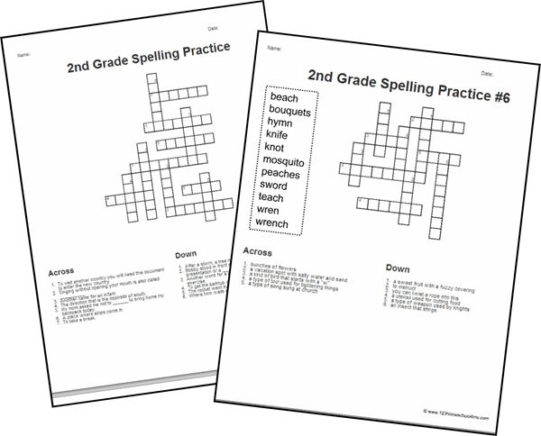 FREE 2nd Grade Spelling Word Crossword Puzzles