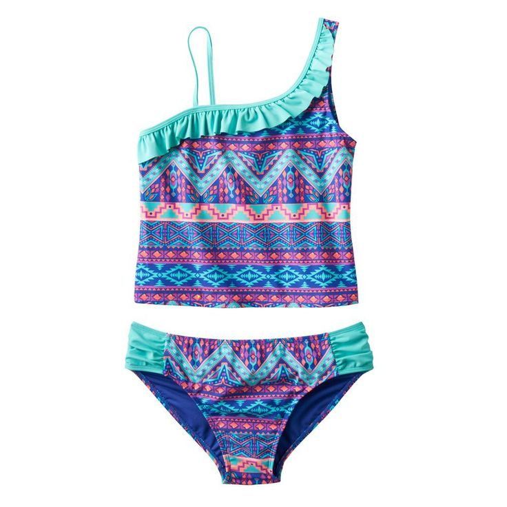 Girls Plus Size SO® Tribal Print Stripe 2-pc. Asymmetrical Tankini Swimsuit Set, Size: 10 1/2, Purple