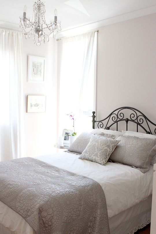 White and Grey bedroom. Patricia Jean's Classic Romantic Home in Montreal