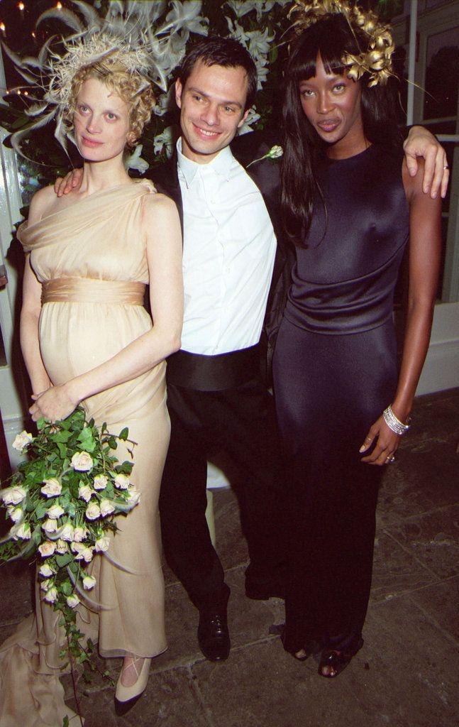 Kristen McMenamy with husband Miles Aldridge and Naomi Campbell in October 1997. McMenamy wore custom Karl Lagerfeld.