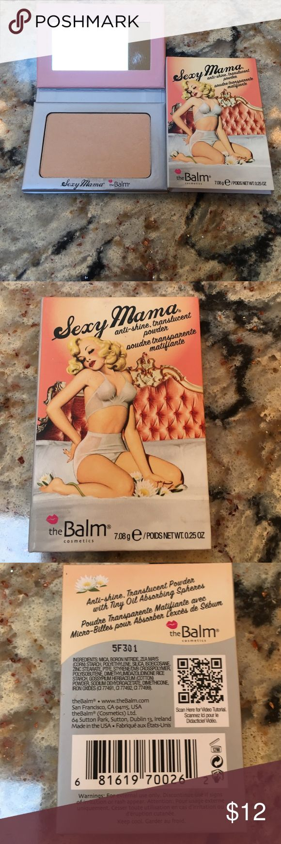 The Balm Sexy Mama Translucent Powder The Balm Sexy Mama Anti Shine Translucent Powder  - gently used- see pictures.  .025 oz. No trades  The Balm Makeup Face Powder