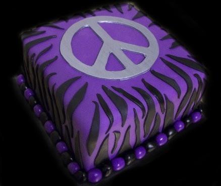 Peace Sign Cake -  purple zebra cake - KENZIE!