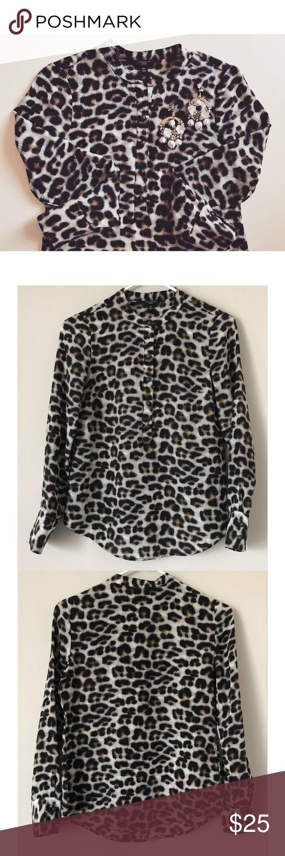 Ann Taylor Printed Shirt Cute cheetah print shirt with mandarin collar. 100% Silk. Worn three times. Ann Taylor Tops Blouses