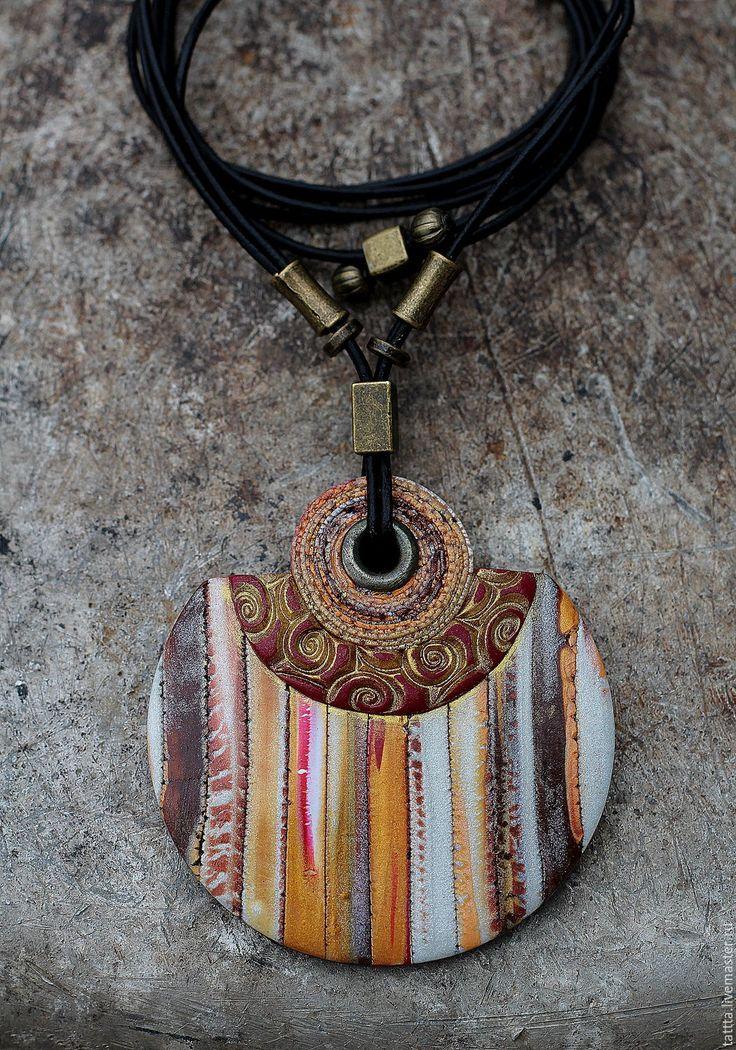 Купить серьги и кулон из полимерной глины этно яркий - комбинированный, тёмно-синий, крупные украшения