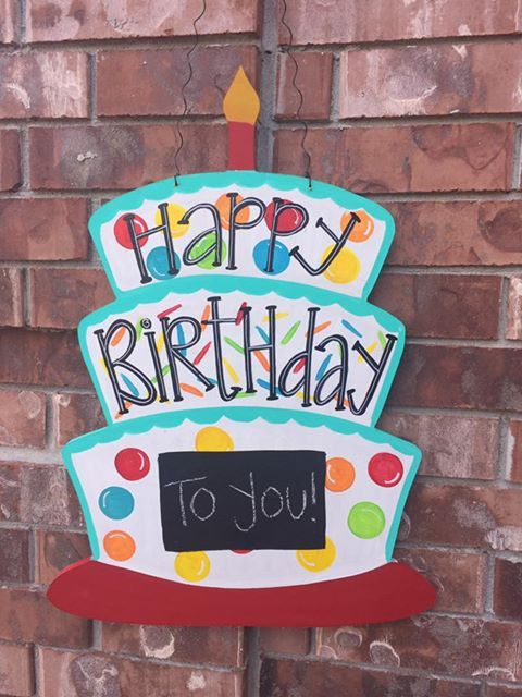 SHIPS NOW Birthday Door Hanger, Birthday Wreath, Happy Birthday Door Hanger, Birthday Decor, Happy Birthday Wreath Birthday Cake Door Hanger by CrazyArtTeacherLady on Etsy