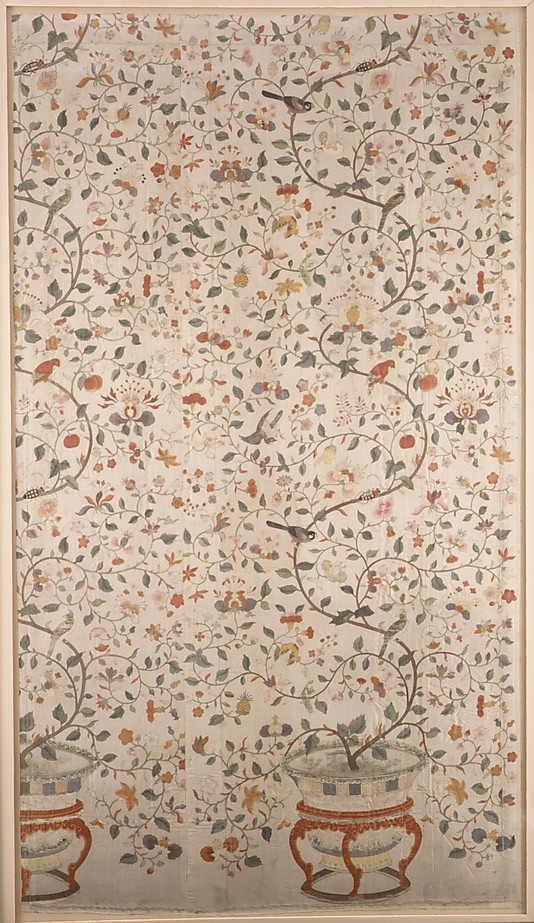 Panel Date: 18th century Culture: Chinese for export Medium: Silk Dimensions: L. 78 x W. 43 inches 198.1 x 109.2 cm Classification: Textiles-Painted Credit Line: Rogers Fund, 1980