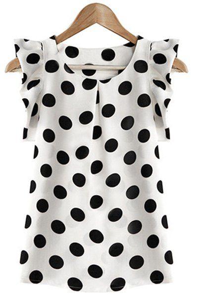 Trendy Scoop Neck Polka Dot Flounce Blouse For Women Blouses | RoseGal.com