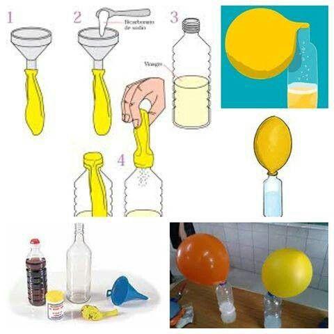Globos flotantes sin helio con bicarbonato y vinagre . globos, un embudo