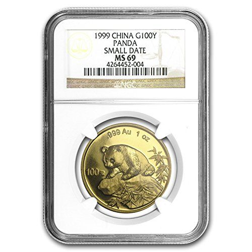 1999 CN China 1 oz Gold Panda Small Date MS-69 NGC 1 OZ MS-69 NGC * Want to know more, click on the image.