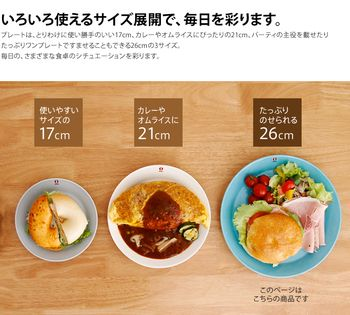 「Teema(ティーマ)」シリーズのプレートは、17cm、21cm、26cm3種類。  主食と副菜、サラダ(果物)をのせた、ワンプレートランチを楽しむのなら、26cm。  主食と副菜の組み合わせや、一品ですませるカレーやオムレツをのせるのならば、21cm。