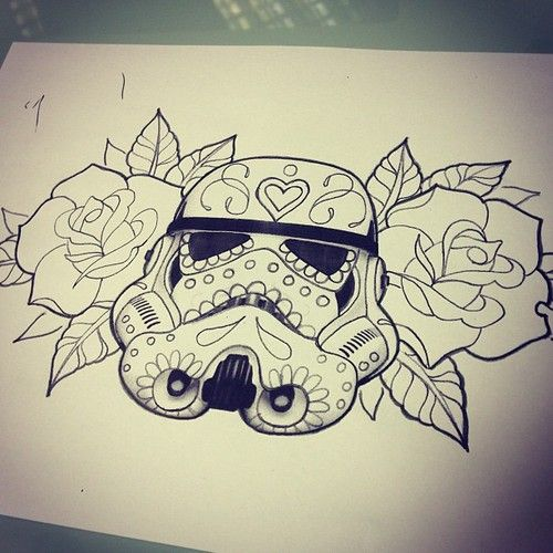 Roses And Helmet Tattoo Designs