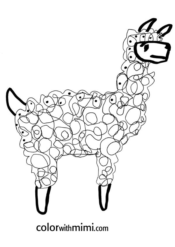 {FREE printable} completely PRECIOUS coloring pages for kids - this is the llama from the spring series -