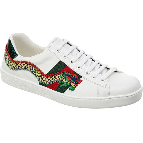 7fec1a1c8 Gucci Ace Dragon Applique Leather Low-Top Sneaker ($660) ❤ liked on Polyvore  featuring men's fashion, men's shoes, men's sneakers, white, ...