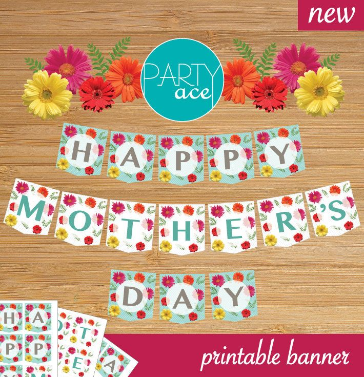 Happy Mother's Day Banner by partyace on Etsy #mother'sday #mum #mom #banner #party #celebration #flower #printable