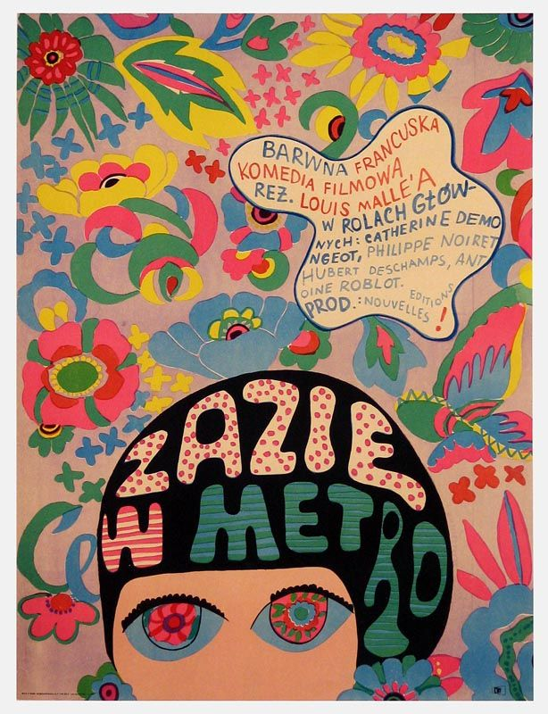 1968.  Jolanta Karczewska. Polish poster for Louis Malle's Zazie dans le métro film in 1960.