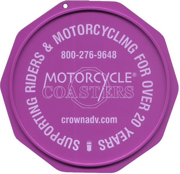 This is a sample of a purple Motorcycle Coaster®, printed with white ink. Check out Motorcycle Coasters® at MotorcycleCoaster.com. The Motorcycle Coaster® is sometimes referred to as a kickstand pad, kickstand plate, side stand pad, side stand plate, or puck.   It is specifically designed as a motorcycle kickstand support aide for soft surfaces and is designed for your custom printed message.