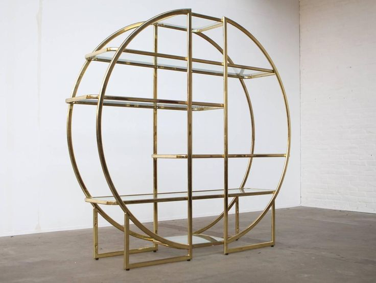 Circular Brass Etagere with Glass Display Shelves 6