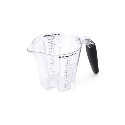 Kitchenaid Calssic Easyview Plastic Measuring Cup, Black by Lifetime Brands. $12.14. An essential kitchen tool for all households. Perfect for measuring wet and dry ingredients. Easy to read measure markings. Perfect for everyday use in the kitchen. The Kitchen Aid 4-Cup Easy View Measuring Cup is ideal for measuring liquid as well as dry ingredients. The tiered measurements along the interior of the cup and the traditional markings along the wall allow you to measure ingredients.